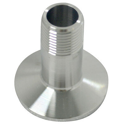 """5pcs 1/2"""" SS316 Sanitary Male Threaded Ferrule Pipe Fitting to 1.5"""" Tri Clamp US"""