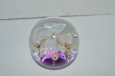 Vintage Art Glass FLOWER PAPERWEIGHT Controlled Bubbles Purple, White,Gold  Nice