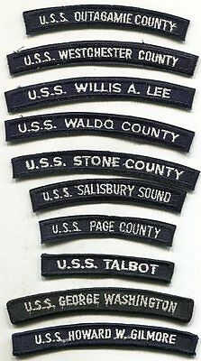 Lot of 10 Different Vintage US Navy SHIP Patches Tabs