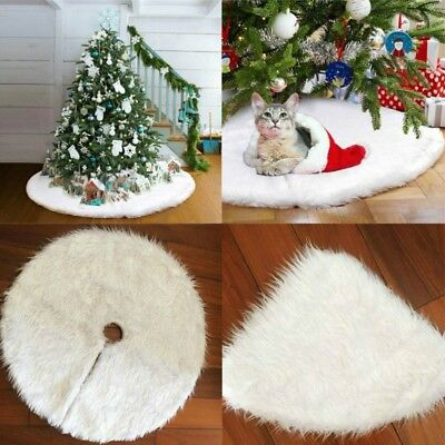 30-60'' Christmas Tree Skirt Luxury Faux Fur New Year White Decoration for Home