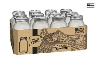 Ball Regular Mouth Quart Mason Jars, Smooth Sided w Lids & Bands 32Oz, 12-Pack
