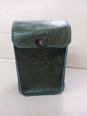 Deben MK1 Green leather ferret finder case belt loop with studs.
