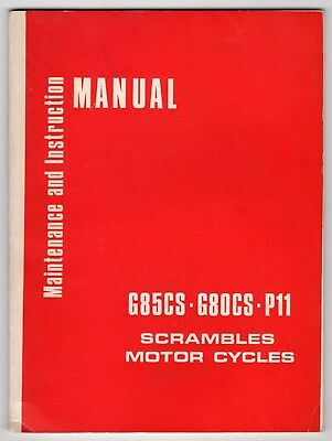 "1967 Norton Owners Manual: ""Scrambles Motor Cycles G85CS - G80CS - P11"""