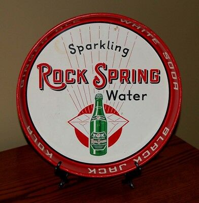 Vintage 1950s Sparkling Rock Spring Water (Ginger Ale White Soda) Bar Metal Tray