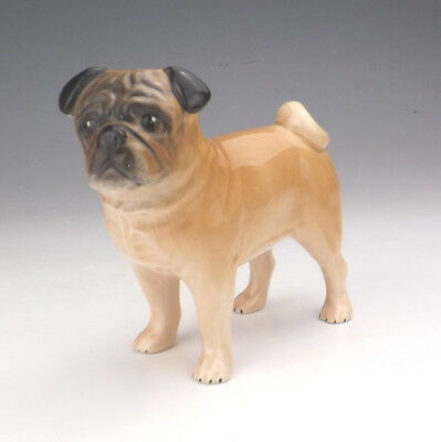 SylvaC Pottery - Hand Painted Pug Dog Figure - Lovely!