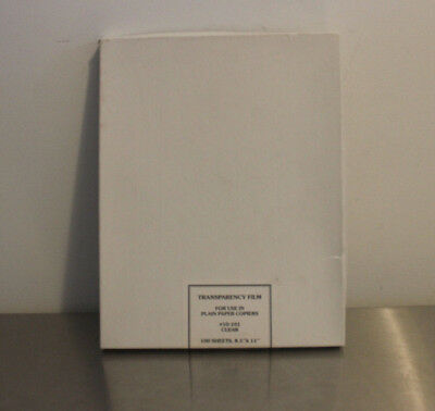 """Transparency Film Sheets 10-101  Box of 75 sheets 8.5"""" X 11"""" clear open box"""