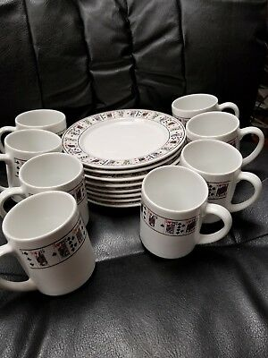 Lillian Vernon poker party set 8 plates,  8 cups w/playing cards Bridge  or Poke