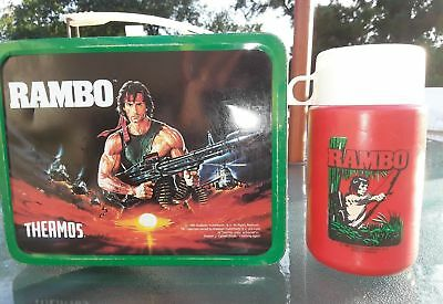 1985 Rambo Lunchbox With Thermos In Great Condition