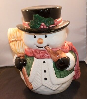 Vintage Porcelain Holiday Cookie Jar Snowman - Very Collectable - Adorable SALE