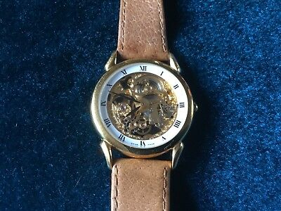 Vintage Mens Watch Alfex Skeleton Watch 9ct Gold Plated Super