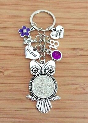 Birthday Gifts Lucky Sixpence Charm Keyring 30th 40th 60th 70th Gift For Her
