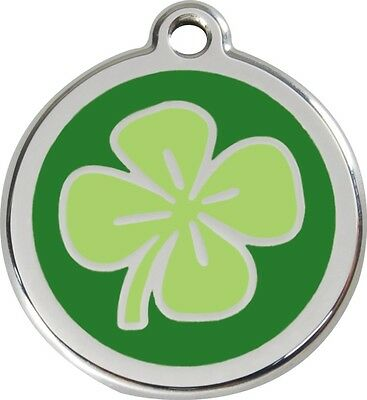 Red Dingo Enamel Clover Solid Stainless Steel Personalised Engraved ID Dog Tag