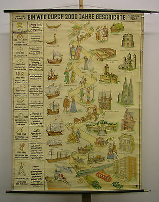 Schulwandkarte Beautiful Old Zweitausend Years History Baustile 101x136cm ~ 1958