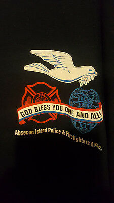 Absecon Island Nj Police & Fire Department Dept 9-11 God Bless All T-Shirt Rare