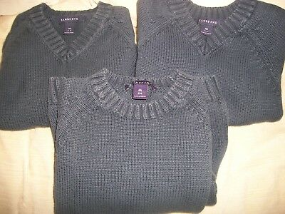 Land's End Navy Blue Uniform Sweaters Size 5-6, Lot of 3