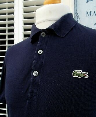 """Lacoste Navy Textured Slim Polo - 44"""" - XL/XXL - Mod Ska Scooter Casuals Skins"""