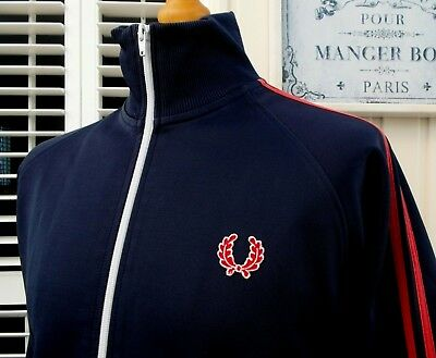 "Fred Perry Navy/Red Twin Taped Track Jacket - 44"" - M/L - Ska Mod Scooter Skins"