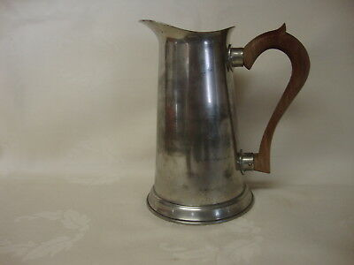 """Vintage Pewter Pitcher 8"""" with Wood Handle Marked Stieff Pewter"""