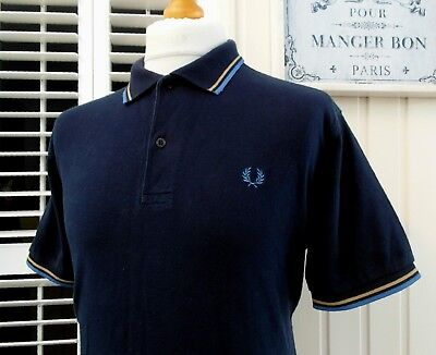 """Fred Perry M1200 Navy Twin Tipped Polo - 44"""" - L/XL - Ska Mod Scooter Casuals"""