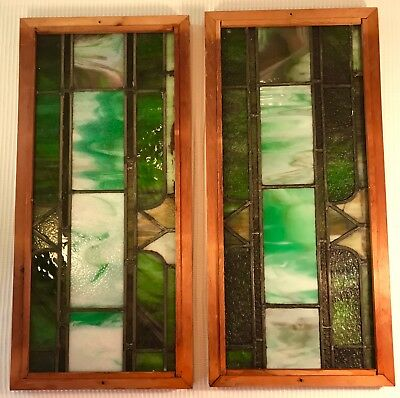 """Pair Arts & Crafts Stained Leaded Glass Framed Transom Panels 25.75"""" x 12"""""""