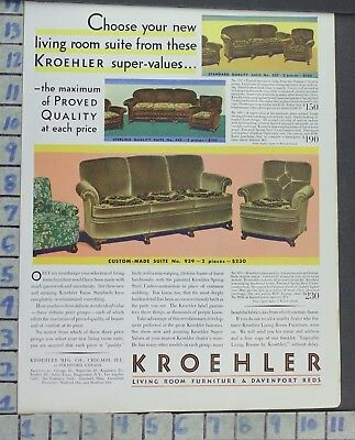 1930 Kroehler Furniture Couch Chair Living Room Home Decor Vintage Art Ad Ce61