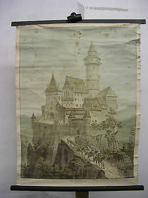 Schulwandkarte Wall Picture Knight's Castle Miss Hunting 64x84 Vintage Chart ~