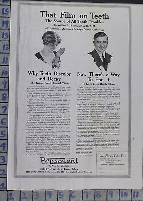 1917 Pepsodent Dental Decay Office Tooth Paste Dentist Decor Vintage Ad  By20