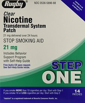 Pack 6 Rugby Nicotine Transdermique Système Step One 21mg 14 Patches Chaque