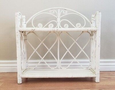 FAST SHIP Vintage Bamboo Wicker Rattan Shelf Bathroom French Cottage Shabby Chic