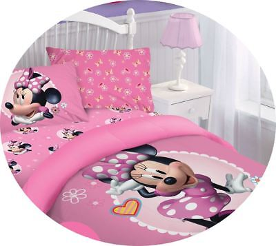 Pink Minnie Mouse Bed Soft Comforter Set Disney Movie Cartoons Collection