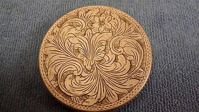 Vintage 800 Silver Powder Compact Engraved Scrolled Floral Italy