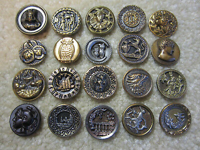 Lot Of 20 Small Victorian & Vintage Metal Picture Buttons/ Owls/ People +