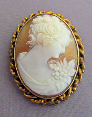 Antique Art Deco Large Gf Hand Carved Shell Cameo Pin Brooch Pendant Combo