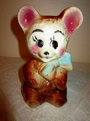 "Vint Ceramic Baby Bear Bank Blue Bow At Neck 6 1/4"" Tall"