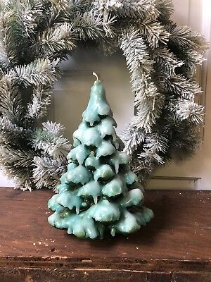 Vintage Candle Snow Covered Christmas Tree  Mid Century