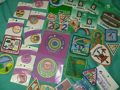 Lot 33 Girl Scout Patches Badges Juniors Numbers Pa Inclined Plane Flag Ceremony