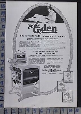 1919 Eden Washing Machine Housewife Laundry Maid Home Decor Vintage Ad  Bx86