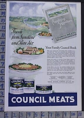 1919 Council Meats Dinner Lunch Pantry Food Kitchen Cook Bake Vintage Ad  Bx15
