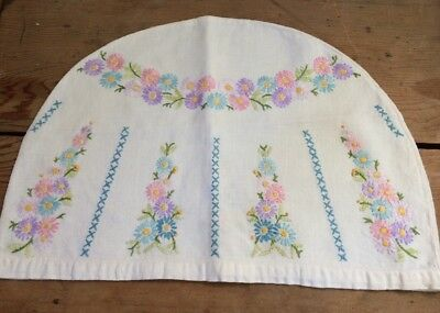 """Beautiful Vintage Hand Embroidered Tea Cosy Floral  VGC Large 14.5"""" X 10"""""""