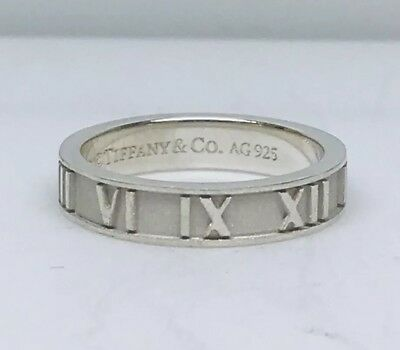 fd2bc7302 Tiffany & Co. Atlas Roman Numeral Sterling Silver Band Ring Size 5