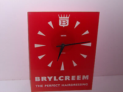 Rare Retro Barbers Shop Smiths Electric Brylcreem Wall Clock Hairdressing Works
