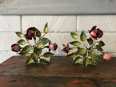 Vintage Italian Tole Pink Roses Bookends Metal Florentine - A Pair