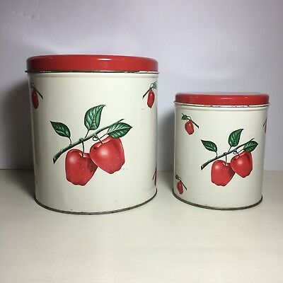 2 Vintage Tin Decoware Apple Cannisters with Red Lid