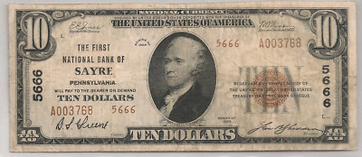 The First National Bank, Sayre, PA 1929 T/2 $10  Charter 5666