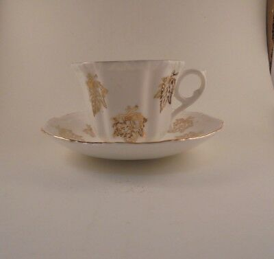Royal Grafton Tea Cup & Saucer Gold Leaf Pattern Bone China Gold Trim