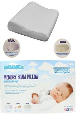 Baby Toddler Kids  Memory Foam Cot Bed Pillow With Towelling Cover
