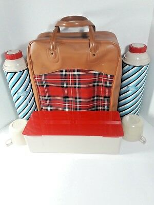 Vintage Plaid Thermos Picnic Set With Sandwich Box and Two Thermos