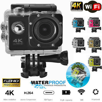 Waterproof 2.0inch LCD 1080P 4K WIFI Angle 170°Remote Sport Action Helmet Camera
