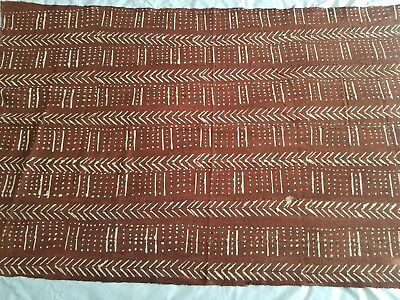 """Authentic African Handwoven Bambara Rust Mud Cloth Fabric From Mali Sz 65- 39.5"""""""