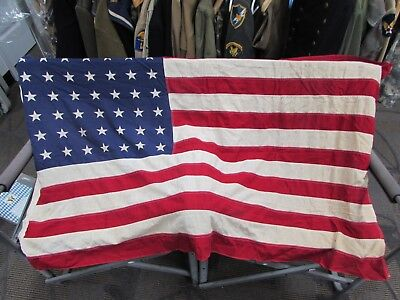 WWII era US 48 star flag marked 3' x 5' made by Valley Forge Flag Company.